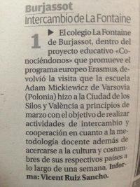 """Artículo en el periódico """" El Levante """""""